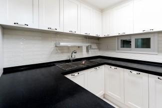 [3D]블랙 & 화이트 주방, 모던 인테리어